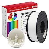 Filamento PLA para impresora 3D de 1,75 mm, filamento de impresin 3D PLA para impresora 3D y bolgrafo 3D, precisin dimensional +/- 0,02 mm, 1 kg 1 bobinaBlanco