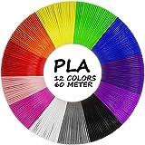 AGPTEK Filamento PLA para Pluma de 3D, 12 Colores 3D Pen Filamento 1.75MM (5 M por Color, Total 197 Pies/ 60M)