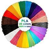 3D pluma filamento 20 colores 10m PLA Materiales de Impresin 3D para la 3D Pluma 1.75mm PLA-10 metros (32.8ft) cada color