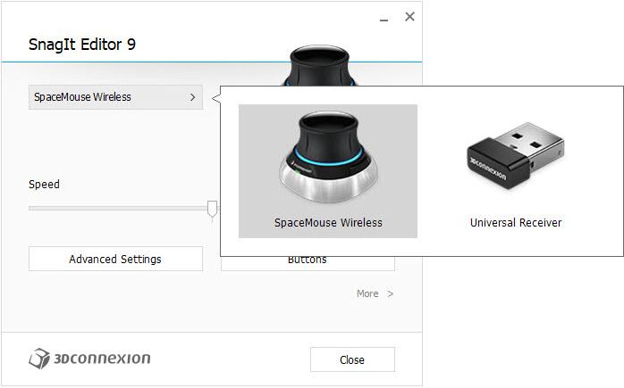 imagen configuracion 3DxWare 10 Selector del dispositivo