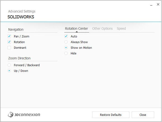 imagen configuracion 3DxWare 10 ajustes avanzados centro rotacion