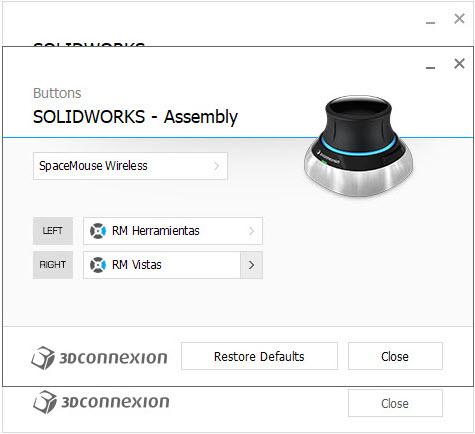 imagen configuracion 3DxWare 10 botones assembly
