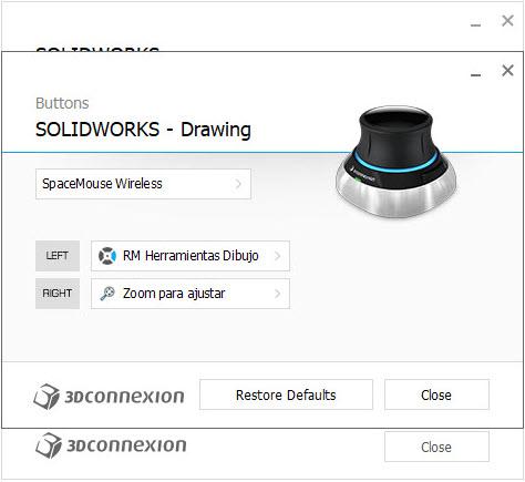 imagen configuracion 3DxWare 10 botones drawing
