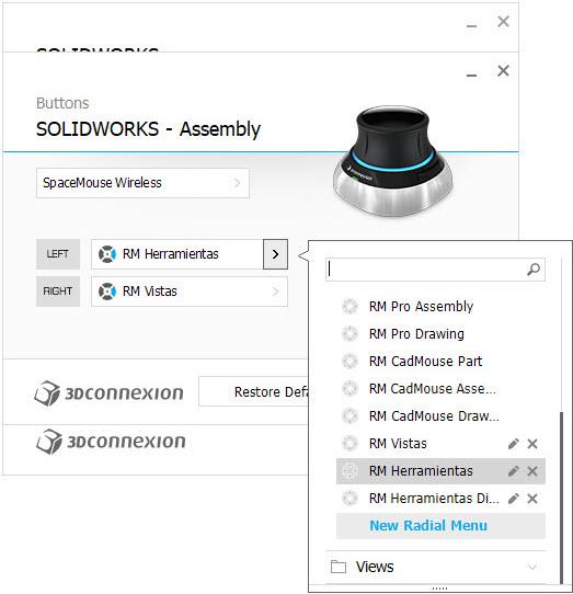 imagen configuracion 3DxWare 10 botones menu radial assembly new
