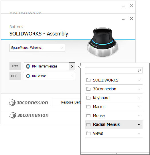 imagen configuracion 3DxWare 10 botones menu radial assembly