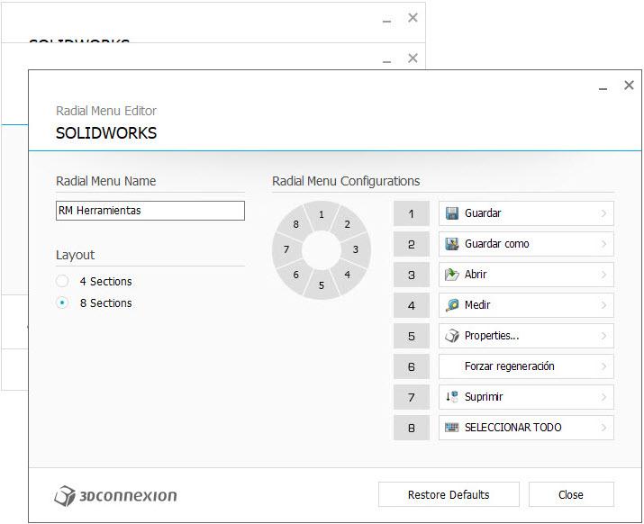 imagen configuracion 3DxWare 10 creacion menu radial