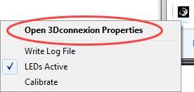 icono 3dconnexion properties menú inferior de windows