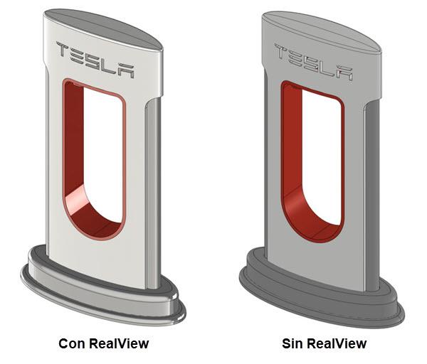 Comparativa con y sin RealView activado gracias a las tarjetas graficas dedicadas al diseño 3D