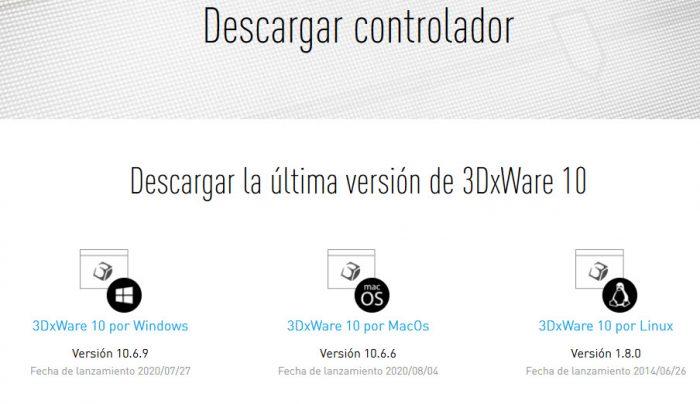 pantallazo descarga Drivers 3DxWare 10