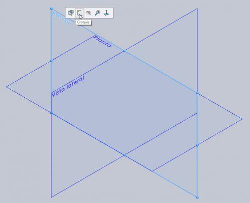 Seleccionando el plano desde la zona de dibujo